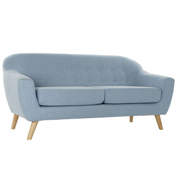 3-Seater Sofa DKD Home Decor Polyester Rubber wood Sky blue (172 x 80 x 81 cm)