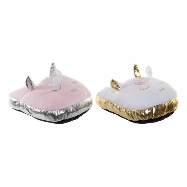 Foot warmer DKD Home Decor White Pink (2 pcs)