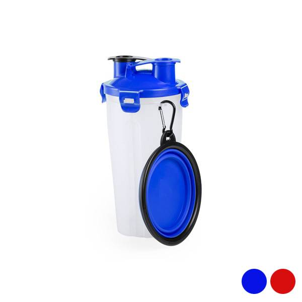 2-in-1 bottle with water and food containers for pets 146171 (900 ml)