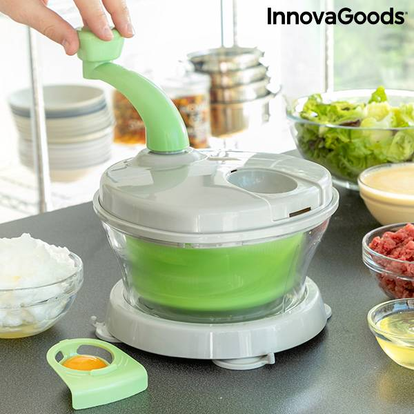 4-in-1 Manual Spinner, Chopper and Mixer with Accessories and Recipes Chopix InnovaGoods