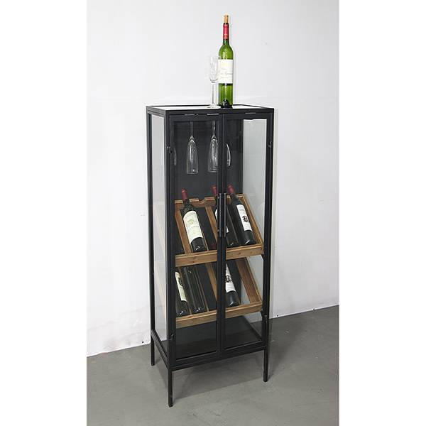 Bottle rack Crystal Glass and wood Painted iron (52 x 35 x 103 cm)